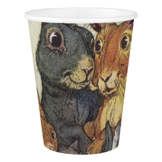 Vintage Easter bunny family Paper Cup
