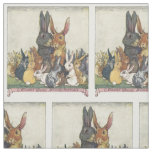 Vintage Easter bunny family textile Fabric