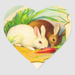 Old fashioned easter gifts on zazzle ca vintage easter bunny heart stickers negle Images