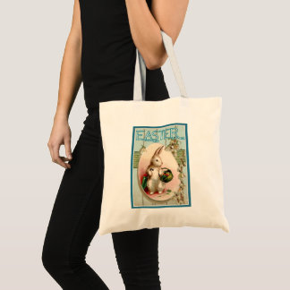 Vintage Easter Bunny Illustration Tote Bag