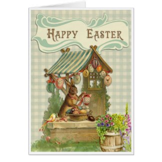 Vintage Easter Card with Bunny