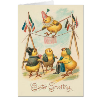 Vintage Easter Card With Circus Chicks