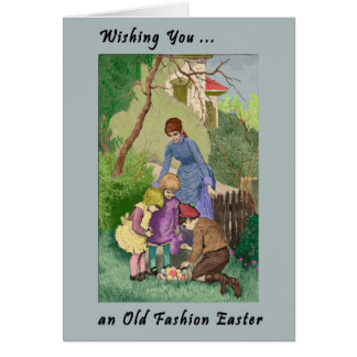 Vintage Easter Card with Mother & Children