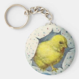 Vintage Easter Chick And Easter Egg Basic Round Button Keychain