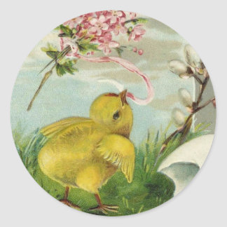 Vintage Easter Chick with Flowers Classic Round Sticker