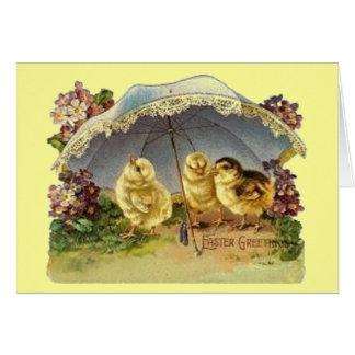 Vintage Easter Chicks & Parasol Card