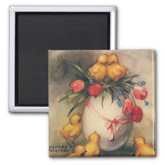 Vintage Easter Chicks with Red Tulip Flowers Square Magnet