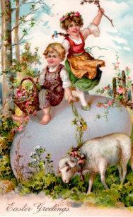 Vintage Easter Children Lamb Card