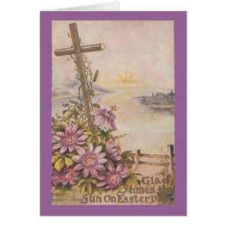 Vintage Easter Cross and Purple Flowers Card