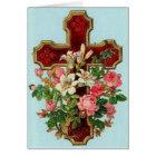 Vintage Easter Crucifix & Flowers (Blank Inside), Card