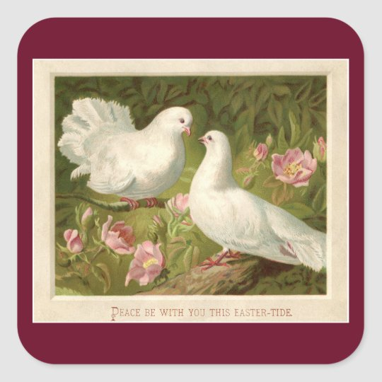 Vintage Easter Doves Square Sticker