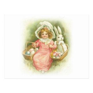 Vintage Easter Egg Gathering Postcard