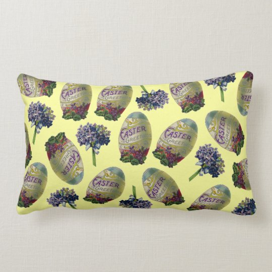 Vintage Easter Eggs & Violets Lumbar Pillow