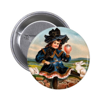 Vintage Easter Girl and Bunnies Round Button