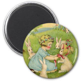 Vintage Easter, Girl Bonnet on Bunny Rabbit Magnet