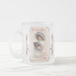 Vintage Easter Girl in Bonnet Frosted Mug