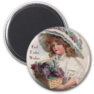 Vintage Easter Girl in Bonnet Magnet
