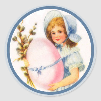 Vintage Easter Girl With Bonnet And Egg Classic Round Sticker