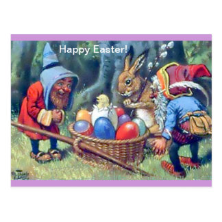 Vintage Easter Gnomes Image Cute Fun Postcard