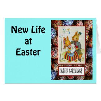 Vintage Easter greetings, Rabbit couple Greeting Card