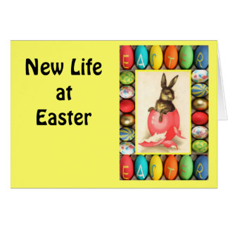 Vintage Easter greetings,Rabbit in an egg Greeting Cards