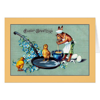Vintage Easter greetings rabbit making eggs Stationery Note Card