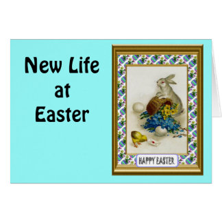 Vintage Easter greetings, Rabbit with flowers Greeting Cards