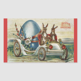 Vintage Easter Greetings Rabbits Antique Car Egg Sticker
