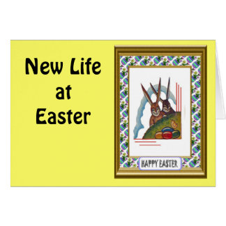 Vintage Easter greetings, Rabbits on the hill Greeting Card