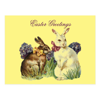 Vintage Easter Greetings Rabbits Postcard