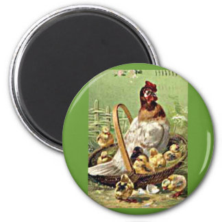 Vintage Easter Hen and Chicks in Basket 2 Inch Round Magnet