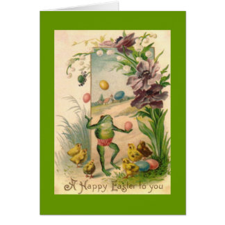 Vintage Easter Juggling Frog Card
