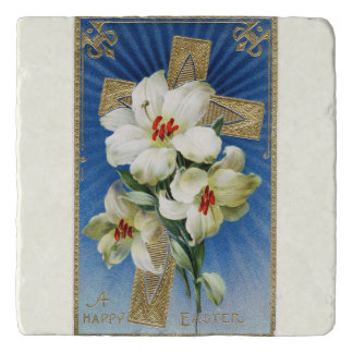Vintage Easter Lilies and Gold Cross Trivet