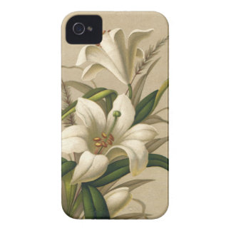 Vintage Easter Lilies, Victorian Flowers in Bloom iPhone 4 Case-Mate Cases