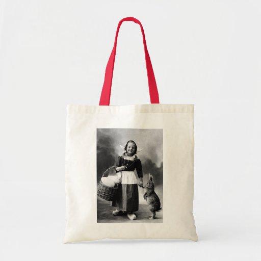 Vintage Easter Photo Girl with Big Bunny Rabbit Canvas Bag