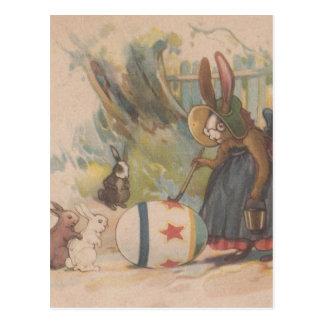 Vintage Easter Rabbits Postcard