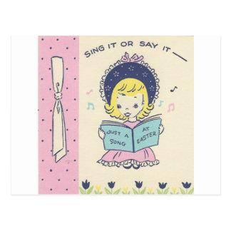 Vintage Easter Singing Girl Postcard