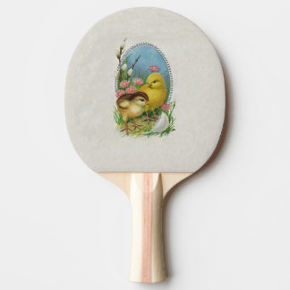 Vintage Easter Spring Baby Chicks Flowers Ping Pong Paddle