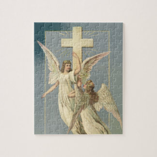 Vintage Easter, Victorian Angels with a Cross Jigsaw Puzzle