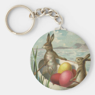 Vintage Easter, Victorian Bunnies in Egg Boat Basic Round Button Keychain