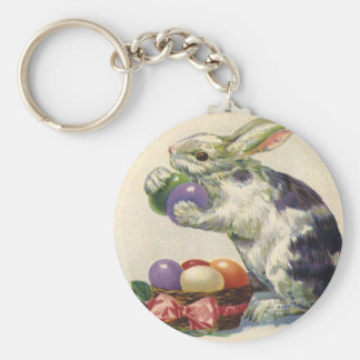 Vintage Easter, Victorian Bunny with Eggs Basic Round Button Keychain