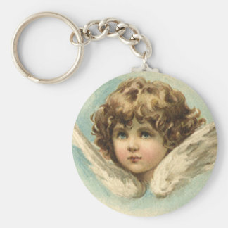 Vintage Easter, Victorian Cherub with Lily Flowers Basic Round Button Keychain