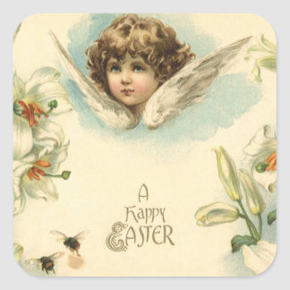Vintage Easter, Victorian Cherub with Lily Flowers Square Sticker