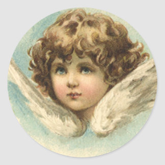 Vintage Easter, Victorian Cherub with Lily Flowers Round Stickers