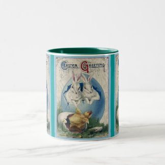 Vintage Easter White Rabbits and Chick Two-Tone Coffee Mug