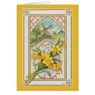 Vintage Easter Yellow Daffodils and Windmill Card