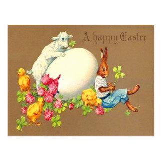Vintage Eater Bunny Chick Egg Lamb Easter Card Postcard