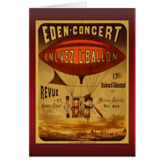 Vintage Eden Concert Hot Air Balloon Greetings Card
