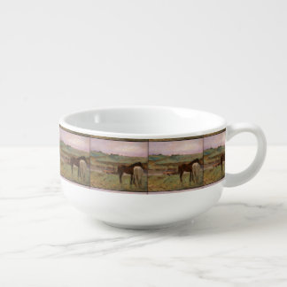 Vintage Edgar Degas Horses in a Meadow Soup Mug