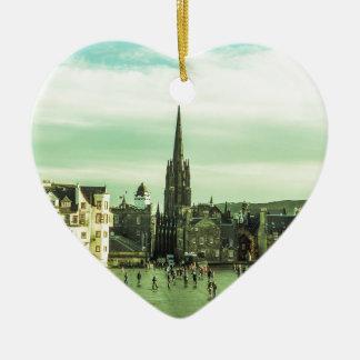 Vintage Edinburgh Ceramic Heart Ornament